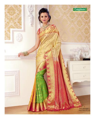 Multi Colour Brocade Silk Saree