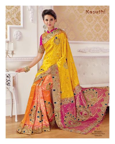 Pure Embroidered Silk Saree