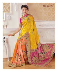 Pure Embroidered Silk Saree