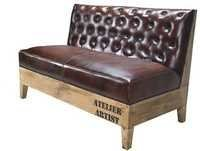 Wooden Legs Chesterfield Leather Sofa