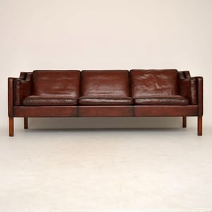 Tan Reclined Back Leather Sofa