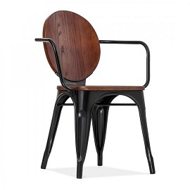 Wooden Back Iron Chair