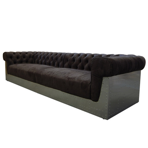 Leather Chesterfield Back Rolled  Armrest Aviation Sofa