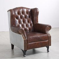 Full Grain Tufted Leather Seat Aviation  Chair