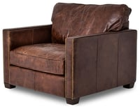 Relacing famy back leather club chair