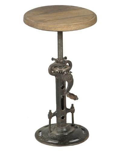 Industrial reclaimed wood top hand crank Bar Stool