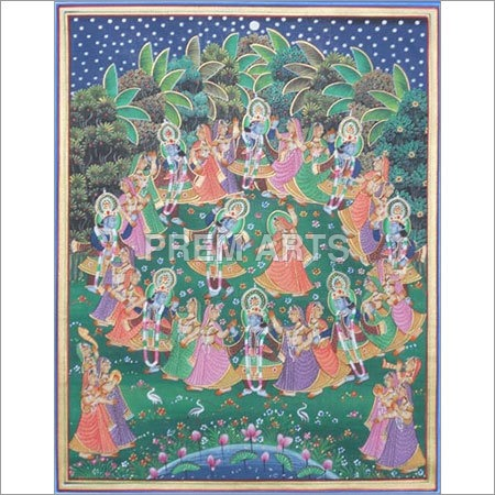 Radha Krishna Raas Painting on Clothe