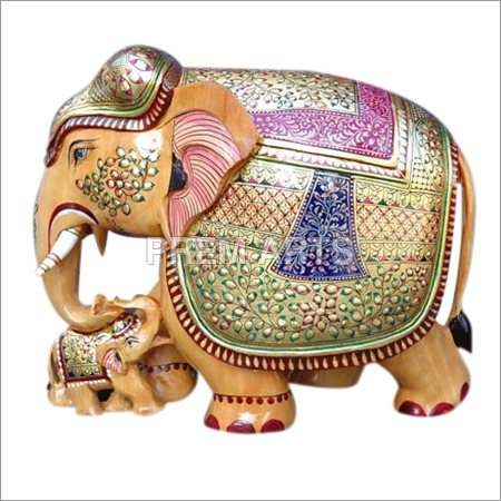 Wood Craft - Hand-painted Elephant with Baby