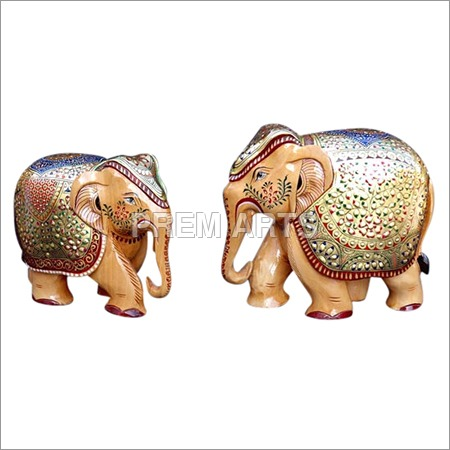 Wood Craft - Hand-painted Elephant Pair
