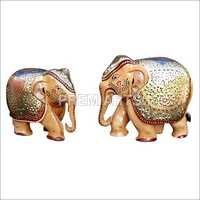 Wood Craft - Hand-painted Elephant Pair