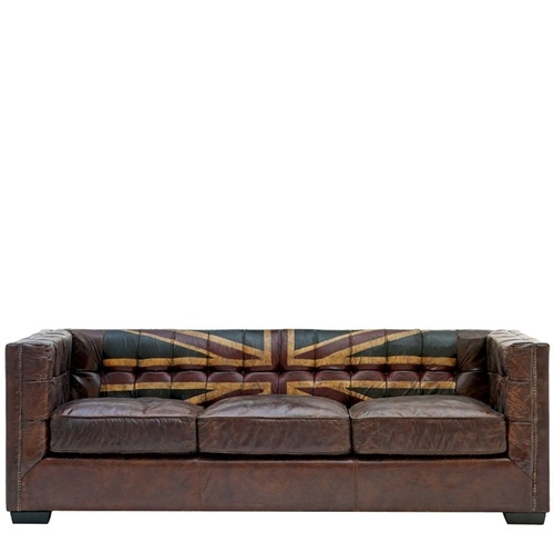Union Jack Leather Chesterfield Sofa