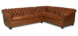 Chesterfield Rolled Arms Leather Sectional Sofa