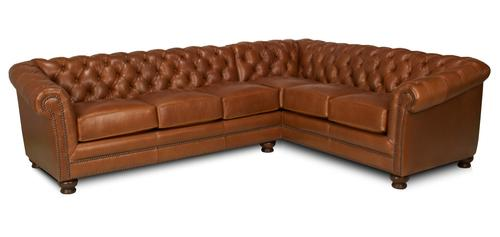 Vintage Look Leather Sectional Sofa