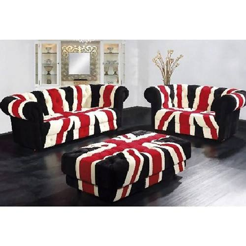 Union Jack Black Chesterfeild Canvas Sofa Set