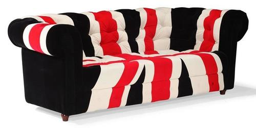 Black Union Jack Chesterfield sofa in canvas