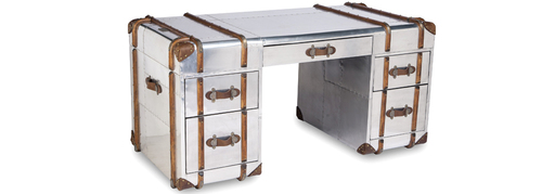 Aviation 5 Drawer Desk With Leather Edges, Wooden Stripes& Leather Handles