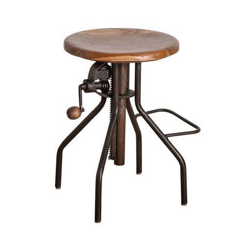 Industrial Hand Crank Cast Iron Mango Wood  Stool
