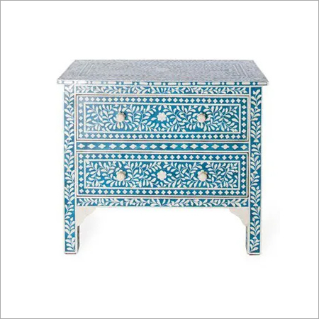 Blue Floral Bone Inlay Cabinet Unit