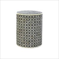Bone Inlay Geometric Pattern Stool
