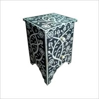 Blue Bone Inlay Bedside Table with drawers