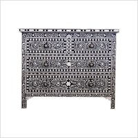 Black & White Floral Bone Inlay Chest of drawers