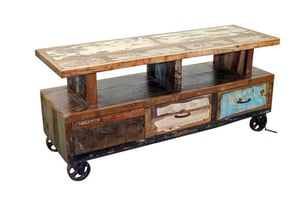 Reclaimed Wood Tv & Console Unit on Wheels