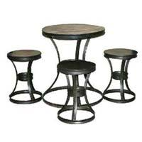 Iron Industrial Bistro Coffee Table & Chair Set