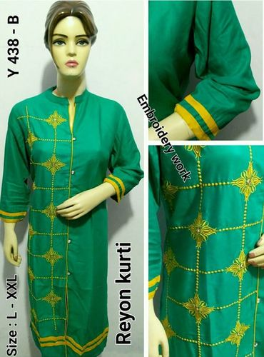 Rayon Heavy Embroidery Kurti