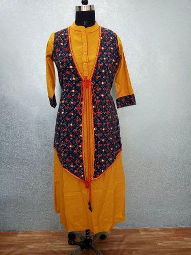 Cotton Printed Embroidery Kurti