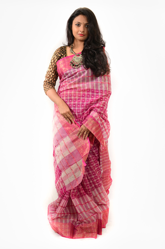 Check Square Saree