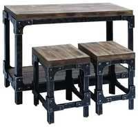 Reclaimed Wood & Iron Industrial Dining Table & Stool Set