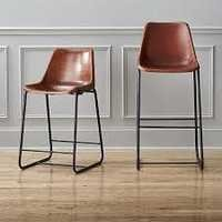 Industrial Leather Seat Bar Chair