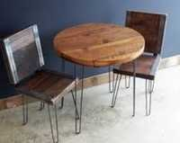 Hairpin Legs Industrial Cafe Chairs Set (2 Chairs+1 Table)