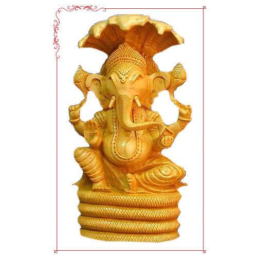Wooden Carving Ganpati Statue