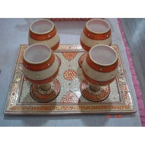 Marble Tray With Glass