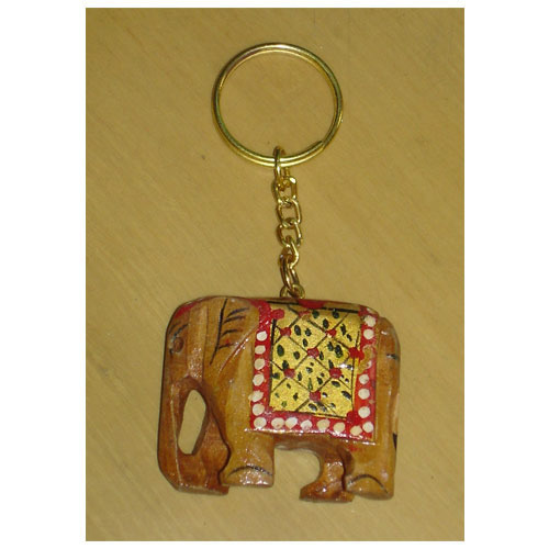Wooden Elephant Keychains