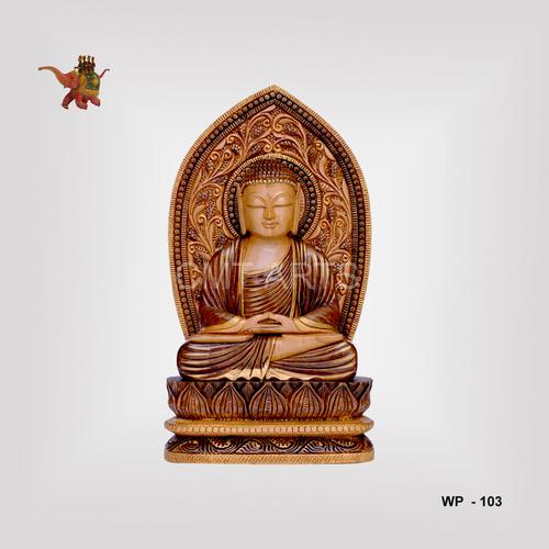 Wooden Antique Finish Pedestrial Buddha