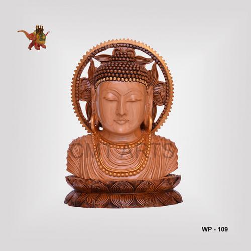 Wooden Antique Finish Buddha Bust