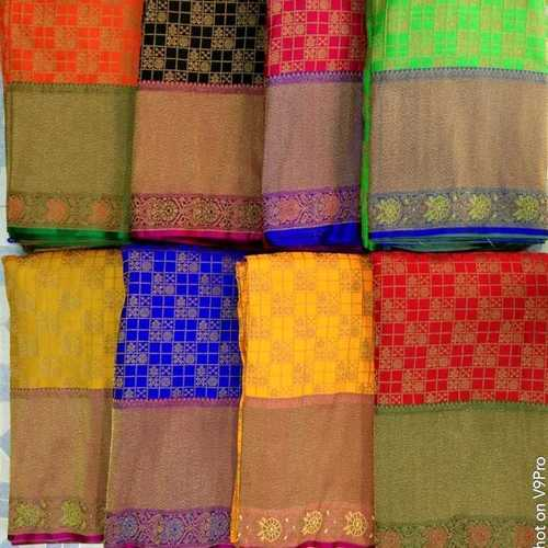 Banarasi one-sided border  Brocade Fabric