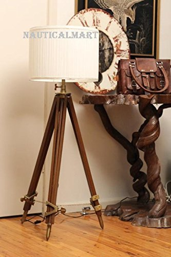 Marine Designer Tripod Floor Lamp With Modern White Shade For Living Room