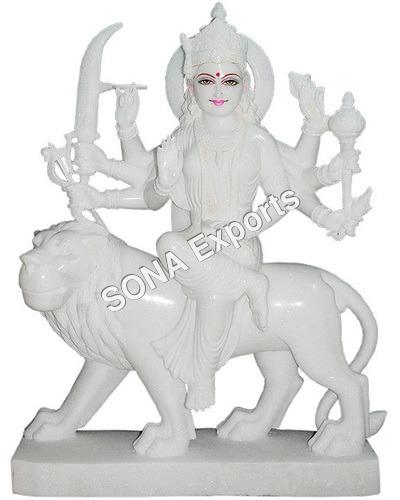Spotless white Marble Durga Statue