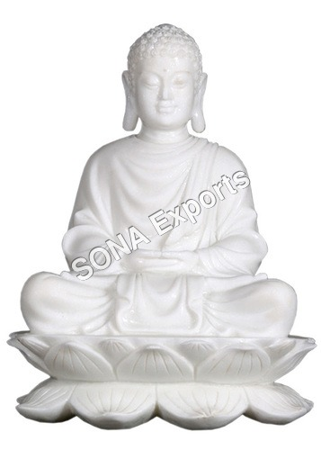 Marble Buddha Sitting on Lotus