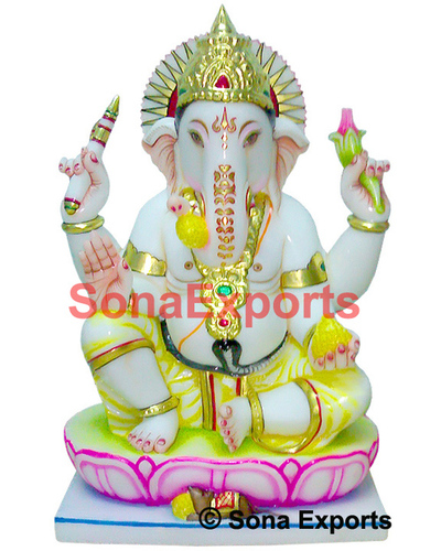 White Marble Ganesha Sculpture