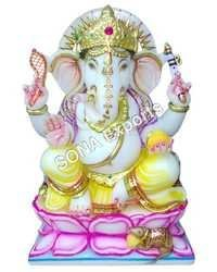 Marble Ganesha Statue Sitting On Lotus