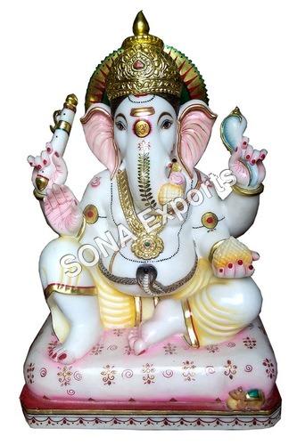 White marble Ganesha Murti