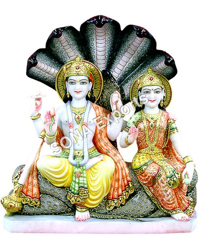 Marble Vishnu Laxmi with Shesh Naag