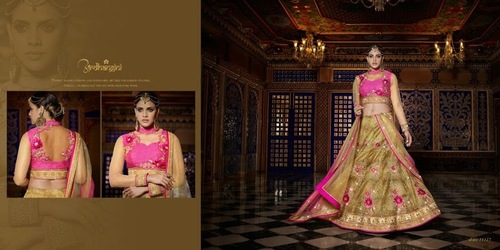 Hot Pink And Gold Colour Lehanga