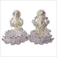 Silver Ganesh Laxmi Idol