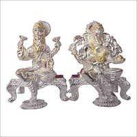 Silver Ganesh Laxmi Statue
