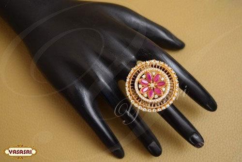 Ruby Flower Design Finger Ring
